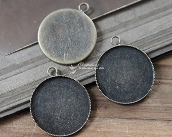 10 Pcs 20mm  High Quality Antique Bronze Plated Brass Cabochon  Base frame Base with Loop (SETHY-96)