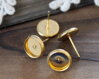 10Pcs 8mm Gold plated brass blank setting Post Earring With 8mm Round Pad  NICKEL FREE (EAR-53)