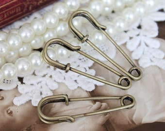 10pcs Antique Bronze  plated brass  Safety Pin / Brooch -(Safety Pin-24)