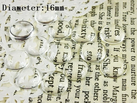 Big sale-50Pcs( 16 mm Diameter )-SALE--Round Clear Glass Cabochon- thick dome top gems for pendants - photo charms