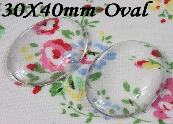 10 Pcs( 30 X40 mm ) -SALE- Transparent  Clear Elliptical Glass Ovals Cabochon- thick dome top gems for pendants - photo charms