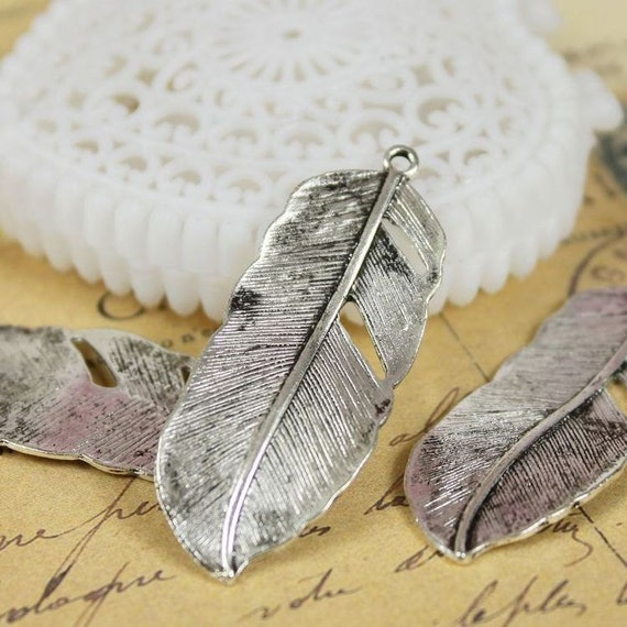 Last-BIG SALE-48pcs  Antique Silver plated brass Charms/Pendants- (Feather ) 43x17mm(HAB-39)