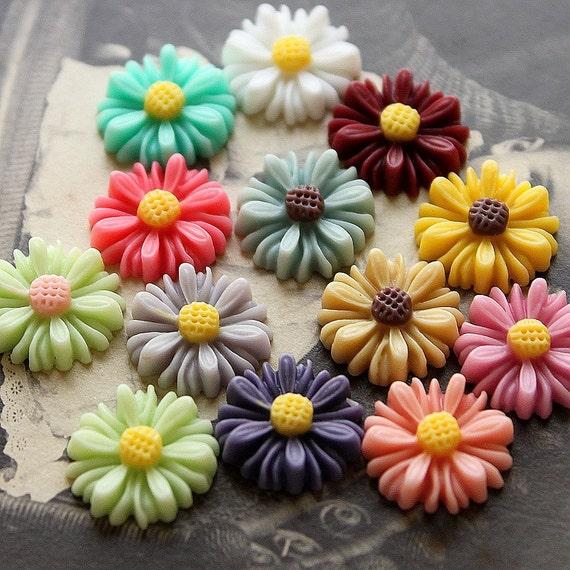 13 pcs Unique Color Beautiful Mix Colorful Gerbera  Flower Resin Cabochon   -13colors-14mm(CAB-AU -MIXSS )