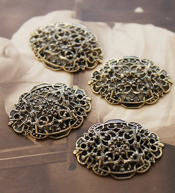 10pcs Antique Bronze  plated brass Filigree For Resin Flowers Jewelry Stampings Connectors  Setting (FILIG-B-5)