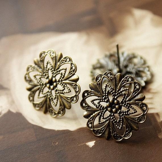 10 Pcs Antiqued Bronze plated Brass Filigree Lace Steel Post  Earring  NICKEL FREE(EAR-41)