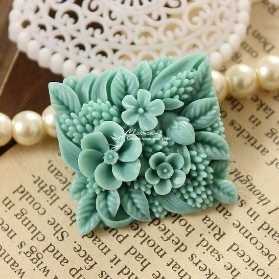2pcs High Quality LARGE Antique Square Bouquet Flower Vintage Cabochon  - (CAB-YK-4)
