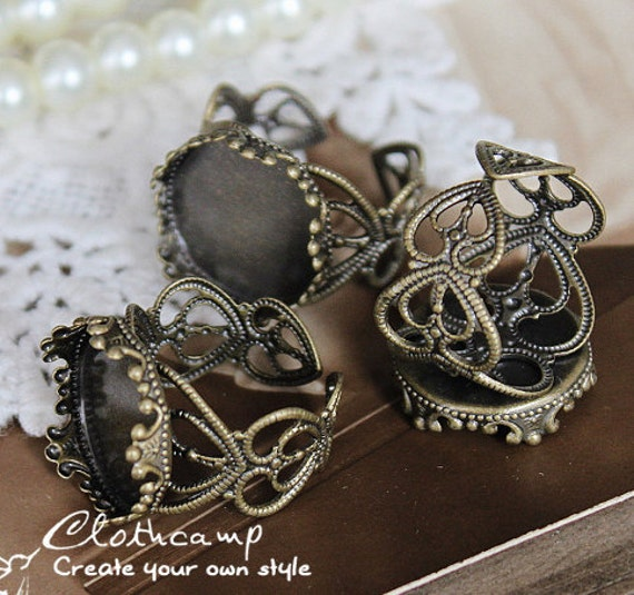 10PCS Antiqued Bronze Adjustable Filigree Ring Bases   blank setting With 15 mm  Filigree Bases (RINGSS-91)