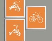 Nursery Art Orange Tricycles and Bicycle set of 3 each 11x14 sl6
