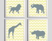 Nursery Art Chevron Yellow Gray Safari Animals set of 4 each 5x7 de3