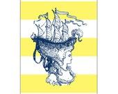 Paris Marie Antoinette Navy Yellow Ship Hair Art Print customize colors 5x7