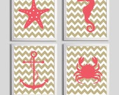 Nursery Art Chevron Beach Ocean Sea Coral Sand more colors available set of 4