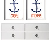 Personalized Twins Beach Brother Sister Boy Girl Nursery Name Anchor Kids Art Print  Custom more colors available set 2 each 11x14