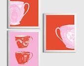 Nursery Girl Teacup Princess English Pantone Tangerine Pink Art Set of 3 each 11x14