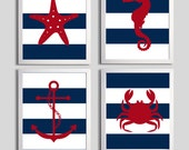 Nursery Art Stripes Nautical Beach Ocean Sea Navy Red more colors available set of 4 each 11x14