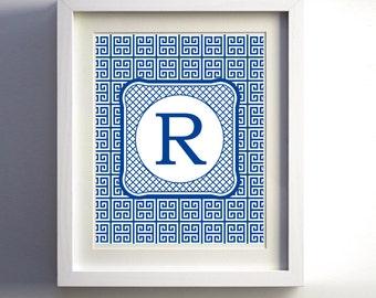 Monogram Greek Key Chinese Lattice Royal Blue Initial Custom wall decor more colors available 11x14