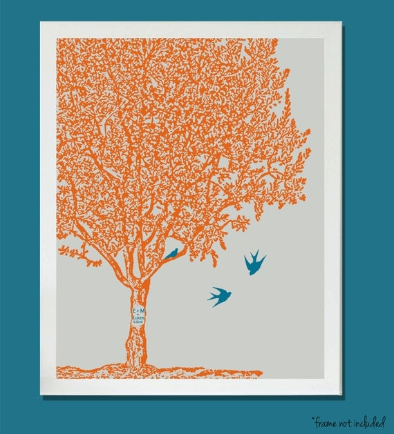 Nursery Art Family tree birds baby sister brother choose colors personalized initials 8x10