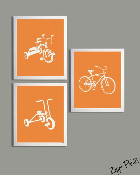 Nursery Art Orange Tricycles and Bicycle set of 3 each 11x14 sl6