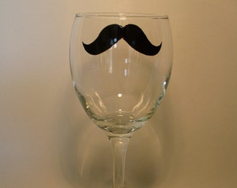 Hand painted wine glass: Mustache low style