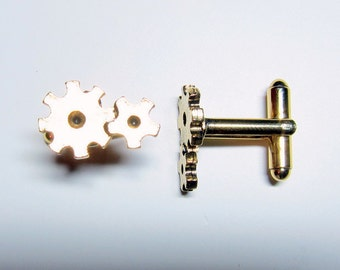 Gold Gear Cuff Links