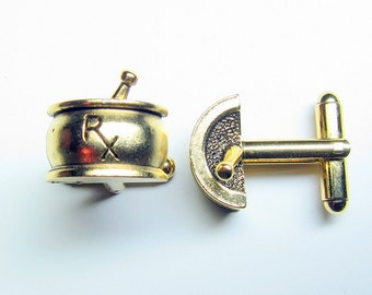 Gold Pharmacy RX Cuff Links