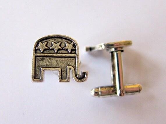 silver republican elephant cufflinks
