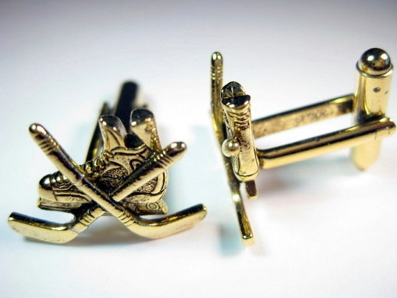 Gold Hockey Skate Cuff Links