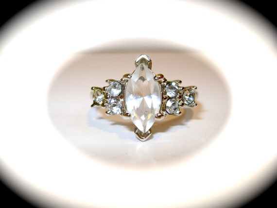 Vintage Victorian Style Crystal Ring Size 11