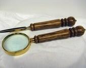 DESK SET - HANDMADE - Magnifying Glass & Letter Opener