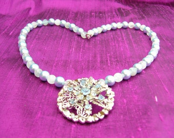 Cool Blue Aquamarine and Pearl Necklace with Blue Rhinestone Pendant