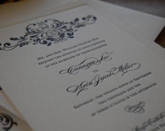 Letterpressed Wedding Invitations - Monogram