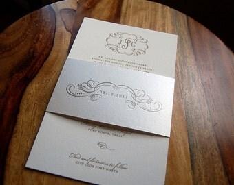Letterpressed Wedding Invitations - Swirly Monogram