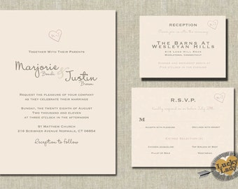 Carved Initials Heart and Faux Bois (Woodgrain pattern) Woodland Wedding Invitation Set by Luckyladypaper - CUSTOM CARD ORDER