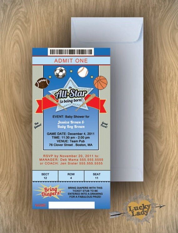 Items Similar To Realistic Sport Event Ticket Baby Shower