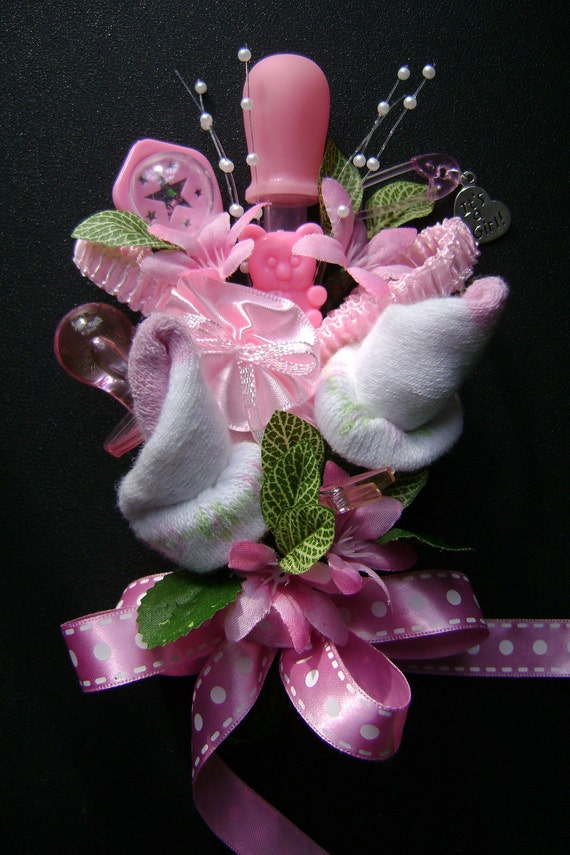 baby shower corsage baby girl bootie corsage new mom corsage
