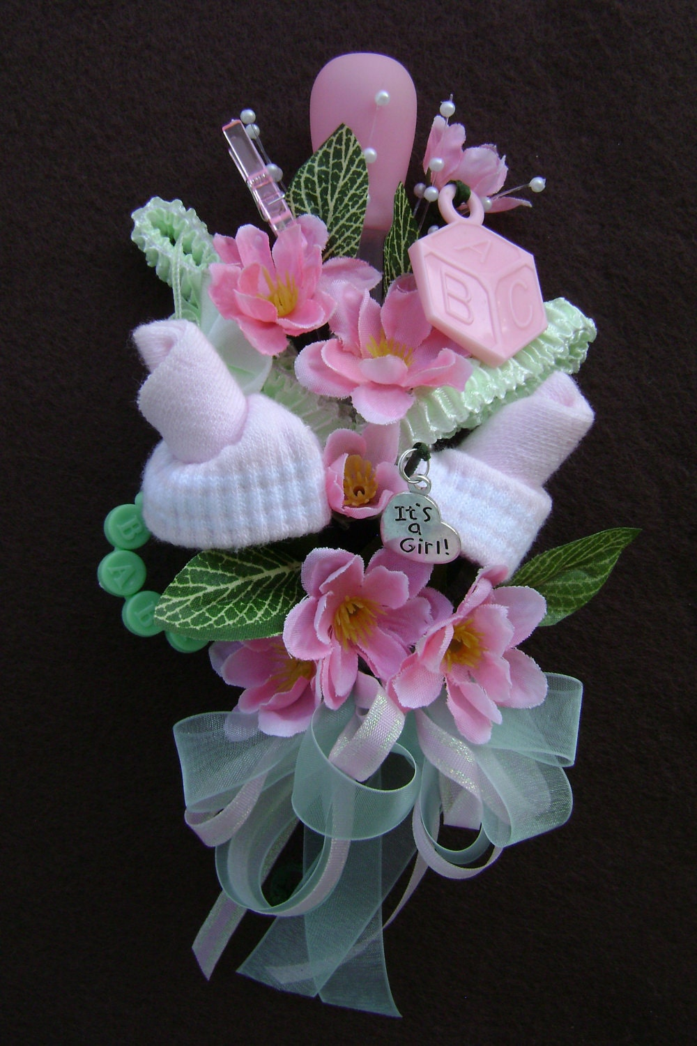 baby shower corsage   baby girl bootie corsage   new by nonisniche