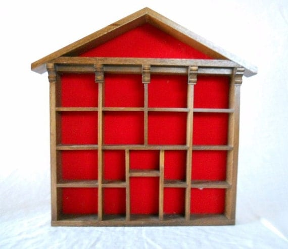 Vintage Little Red House Shadow Box