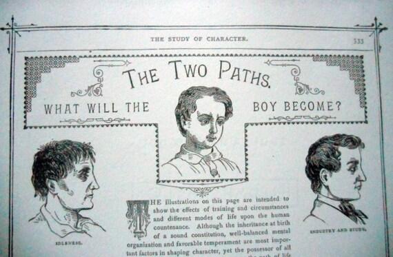1886 Victorian Phrenology Paper Ephemera