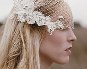 White Blusher Veil with Ivory Alencon Lace