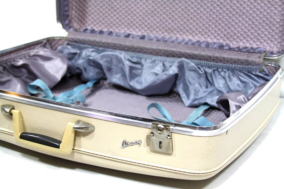 Lovely Lavender and White Suitcase