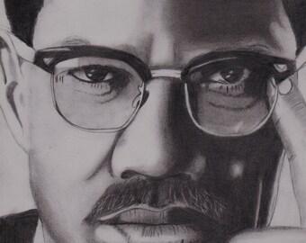 ORIGINAL PENCIL DRAWING - Malcolm X