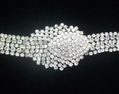 Vintage Rhinestone Bracelet Wide Hollywood Regency Jewelry