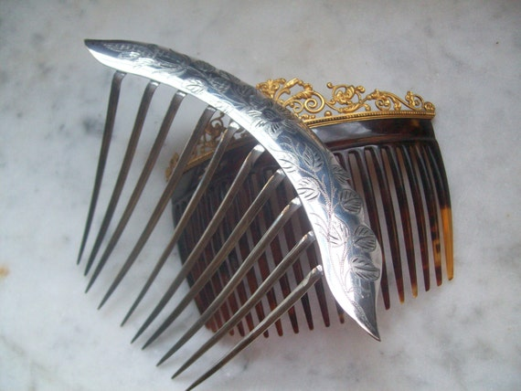 Antique Victorian Hair Comb Large Silver Floral Leaf Engraved-Layaway For Kate