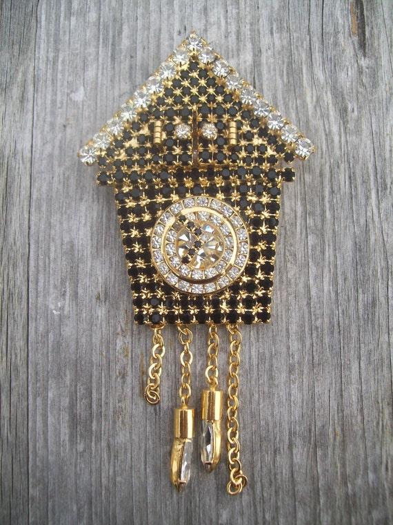 Reserve for Joni- Vintage Rhinestone Brooch Peek Inside Movable Cuckoo Clock Dorothy Bauer