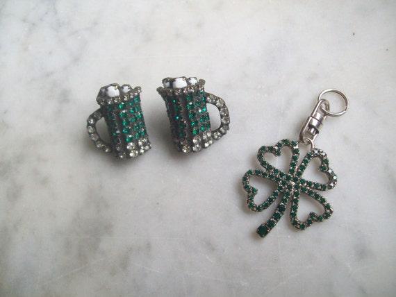 Vintage St Patricks Day Earrings Green Beer  Dorothy Bauer Emerald Swarovski Rhinestones