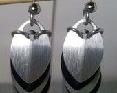 Silver and Black Snake Scale Earrings