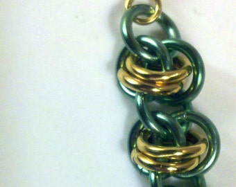 Minty Fresh Gold Chinmaille Earrings