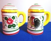 Rooster and Roses Salt and Pepper Shakers
