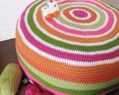 40% off SALE - Orange & Pink Round Crocheted Poufe Cover - Was 56 US dollars