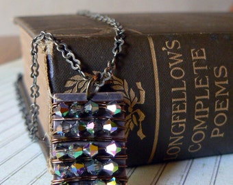Swarovski crystal and brass necklace