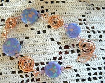 Lavender and Copper swirled bracelet